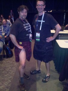 Sean McCown and Brent Ozar sporting #SQLKilt - yes, it's a real thing.