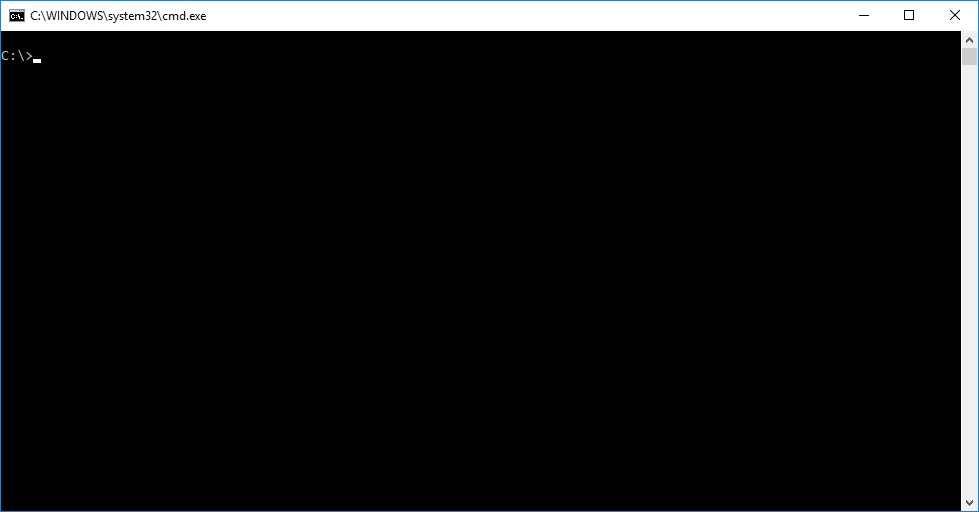 An empty command prompt window